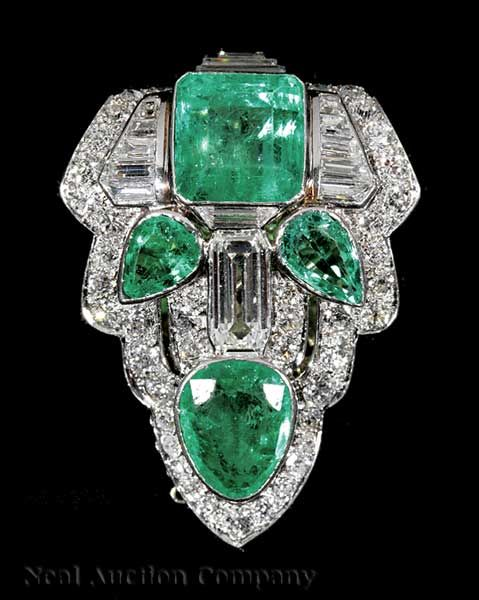 Art Deco Platinum, Emerald and Diamond Lapel Clip,