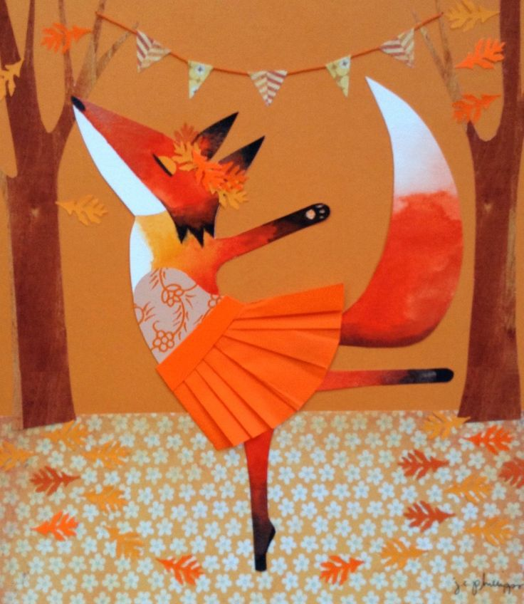 Orange Fox Dancing, collage and watercolor by J.C. Phillipps