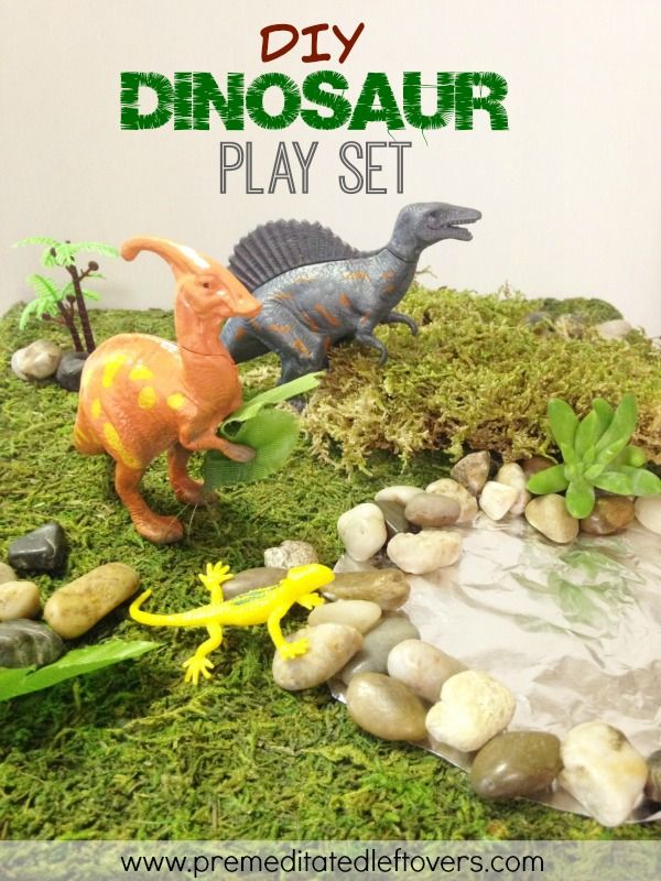 DIY Dinosaur Play Set - Take a look at how to create your own DIY dinosaur play set from just a handful of dollar store supplies and a piece of faux moss.