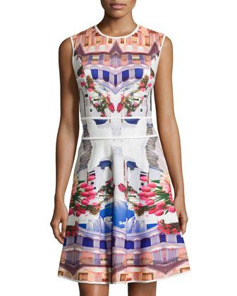 Greece-Print Sleeveless Scuba Dress, Grecian Holiday by Mackenzie Mode at Neiman Marcus Last Call.