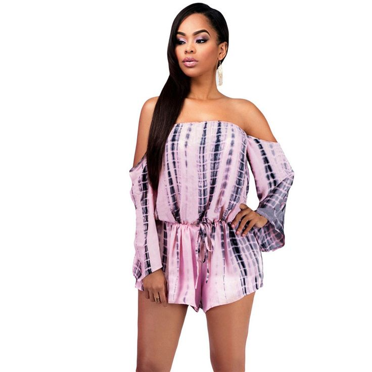 Tie Dye Print Sexy Strapless Playsuit Party Elegant Jumpsuit Shorts Off Shoulder Rompers Long Sleeve Jumpsuit