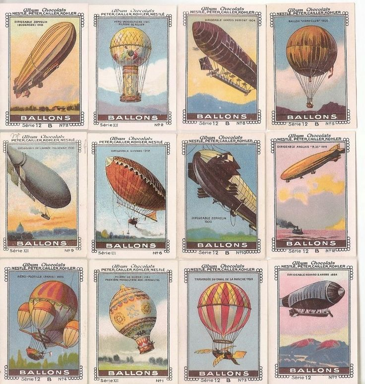 Ballons - -  Lot d' Images Anciennes Nestle 1935 - Dirigeable  Mongolfiere  Air