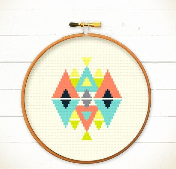 Modern Geometric Cross stitch pattern PDF - Play with Triangles - Instant download - Abstract Colorful triangle, Less is more, Funny graphic