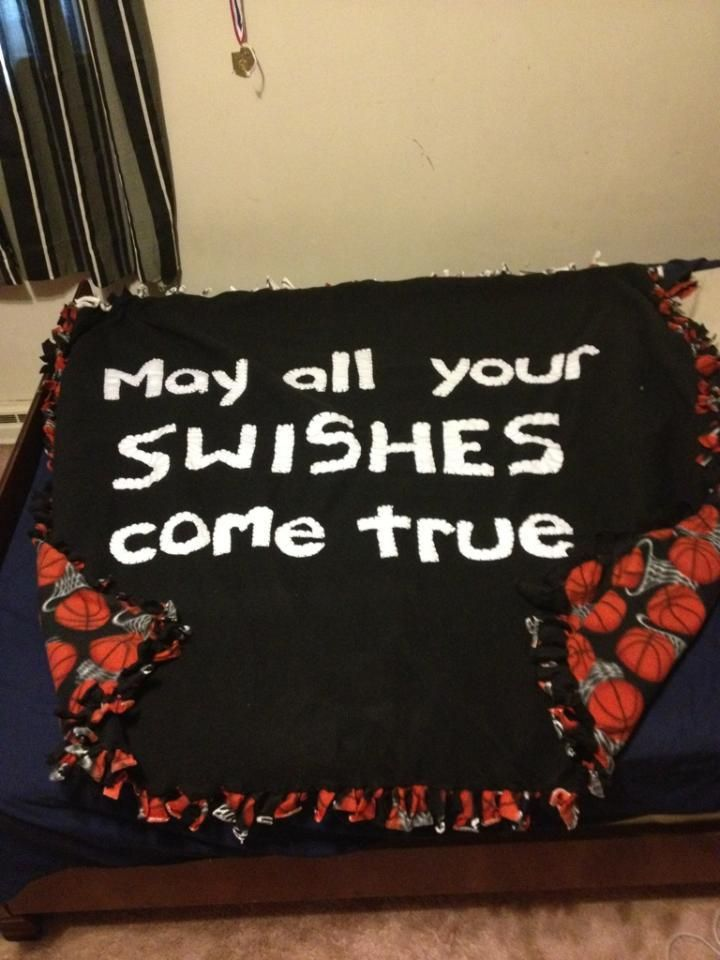Basketball throw blanket! May all your Swishes come true*. simple fleece letters hand sewn on.