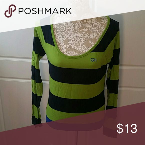 GH striped long sleeve Gilly Hicks navy, green, and cobalt blue striped scoop neck. Gilly Hicks Tops Tees - Long Sleeve
