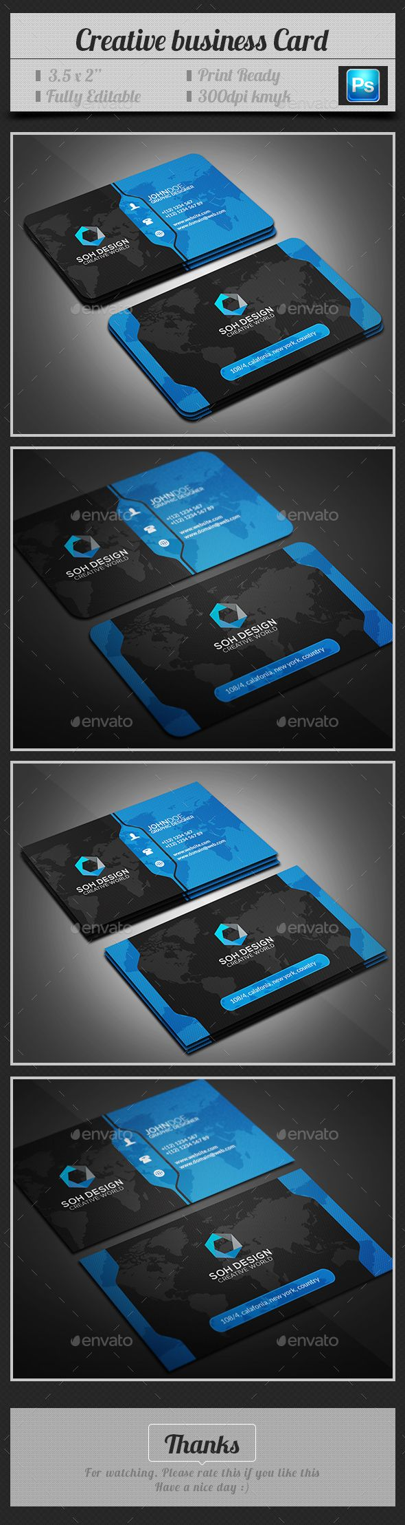 Creative Business Card Template PSD #design Download: http://graphicriver.net/item/creative-business-card/14428977?ref=ksioks
