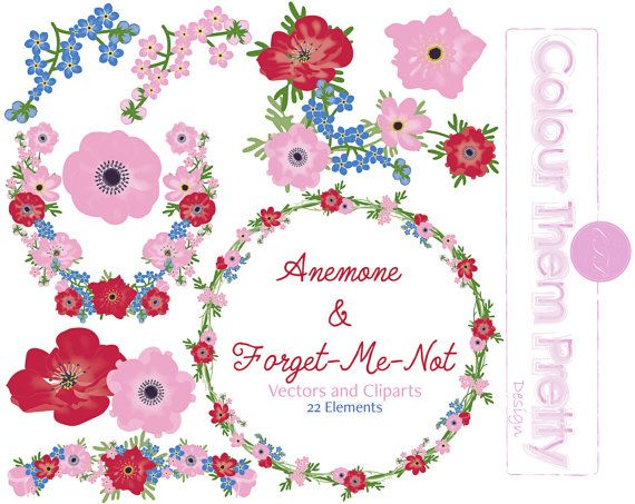 80% OFF  Anemone and Forget-Me-Not Vectors and by ColourThemPretty