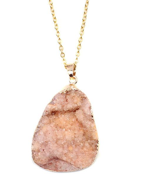 Peach Gold Plated Druzy Pendant Necklace