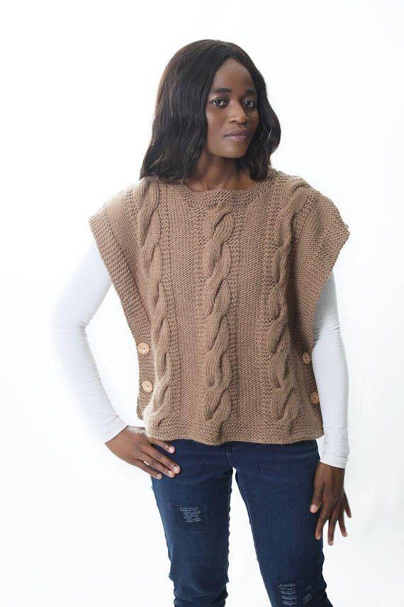 Highland Poncho Knitting Pattern  Cabled Poncho Knitting