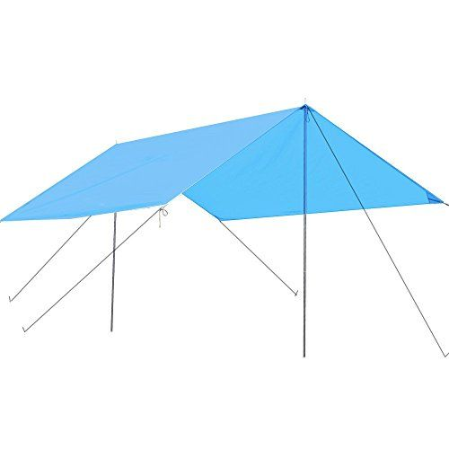 Kany Lightweight Water Resistant Sun Shelter Tarp Portable Canopy for Shade Camping Hiking Rain Tarp With 6ft Adjustable Poles and Carry Bag Blue * Check out the image by visiting the link.(This is an Amazon affiliate link and I receive a commission for the sales)