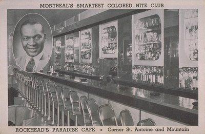 Rufus Rockhead, propriétaire du Rockhead's Paradise, où se sont produites Billie Holiday et Sarah Vaughn, coin St-Antoine et De la Montagne.