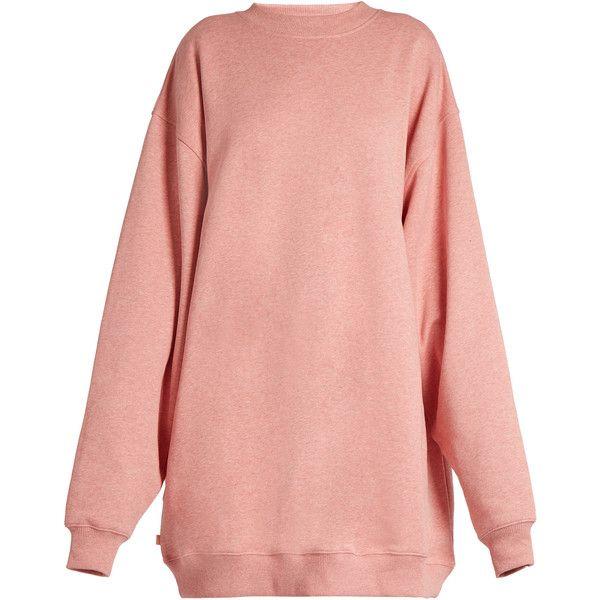 Acne Studios Yanin oversized cotton-jersey sweatshirt (£140) ❤ liked on Polyvore featuring tops, hoodies, sweatshirts, dresses, sweaters, shirts, light pink, light pink long sleeve shirt, cotton jersey and light pink sweatshirt