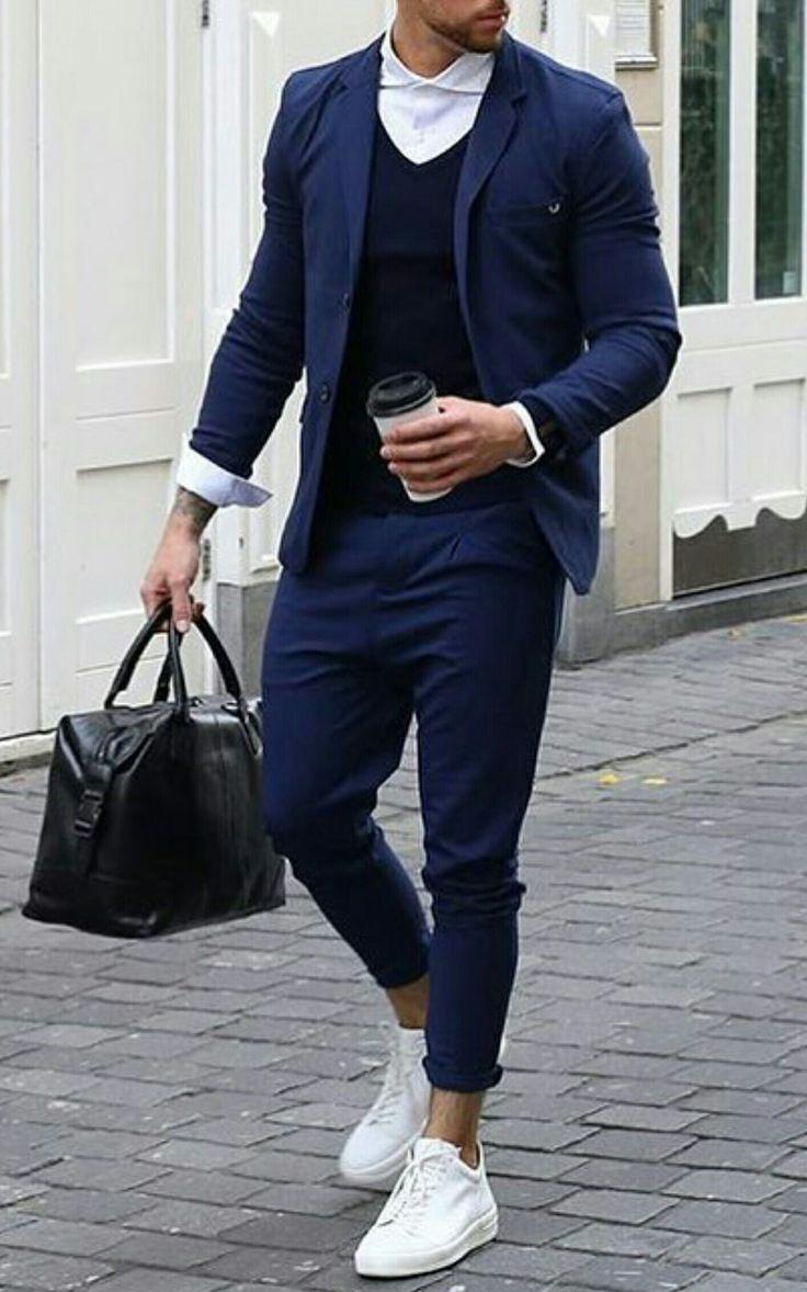 Blue Suit. Sneakers - #Blue #Sneakers