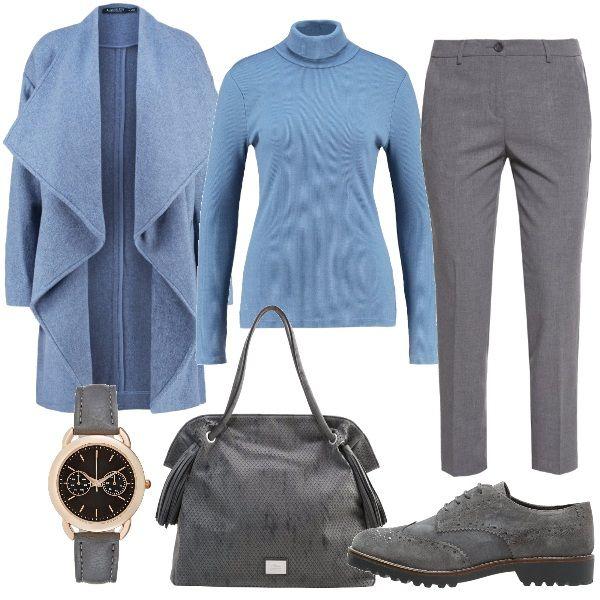 Per questo outfit: maglia dolcevita a costine azzurra, pantaloni dal taglio classico grigi, cappottino azzurro, stringata grigia, maxibag grigia con nappine e orologio dal cinturino grigio. Pronte per una giornata di lavoro.