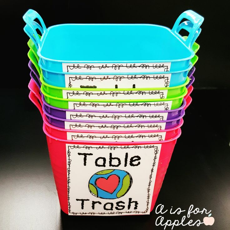 Table Trash Bins FREEBIE - classroom management idea