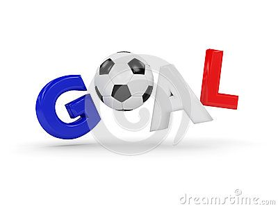 3d rendered word GOAL with soccer ball  isolated on white background