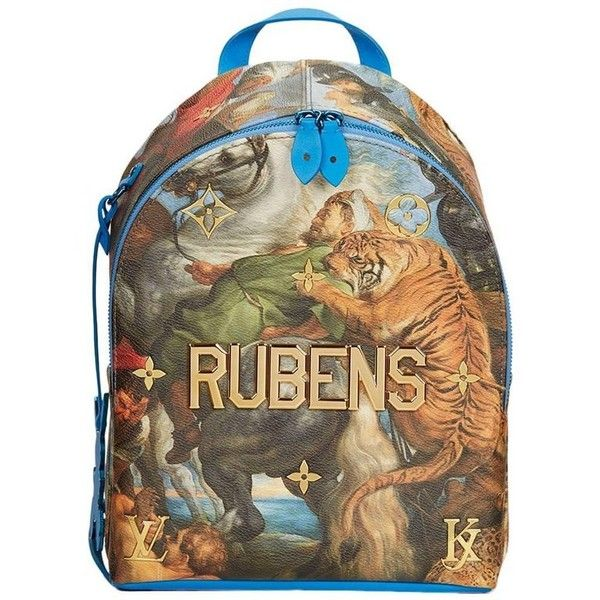 Preowned 2017 Louis Vuitton Masters Jeff Koons Rubens Palm Springs... ($3,338) ❤ liked on Polyvore featuring bags, backpacks, backpack, brown, rucksack bags, louis vuitton backpack, louis vuitton bags, palm tree backpack and strap bag