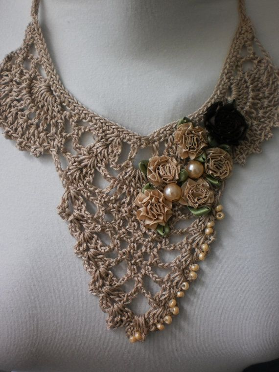 Fall Fashion Beige Crochet Necklace Crochet Jewelry by levintovich, $40.00