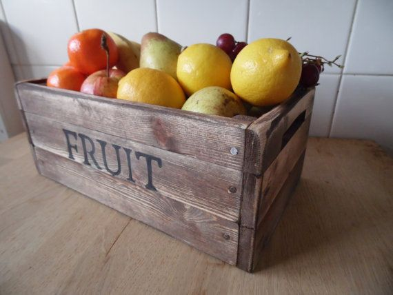 Fruit bowl/ Fruit Basket/ Rustic fruit crate / solid pine hand crafted Quality