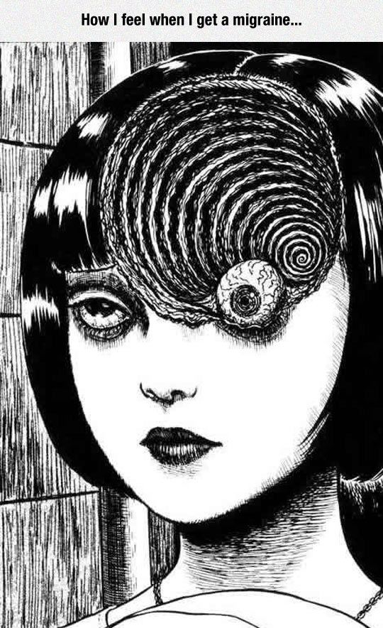 "ART WORK BY JUNJI  ITO  from  ""  UZUMAKI  ""  /  ""  SPIRAL INTO HORROR  ""  