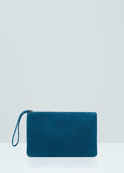 Womens petrol blue zipped suede clutch from Mango - £19.99 at ClothingByColour.com