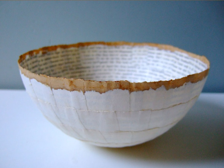 Paper bowls using book pages. She does some stunning work!
