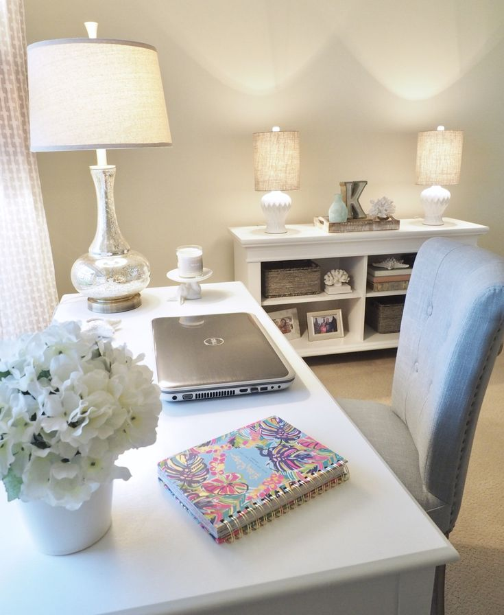 Home office, Benjamin Moore French Canvas paint color. Lamp from Pier1 Imports. Chair from HomeGoods. Short lamps from Hobby Lobby.