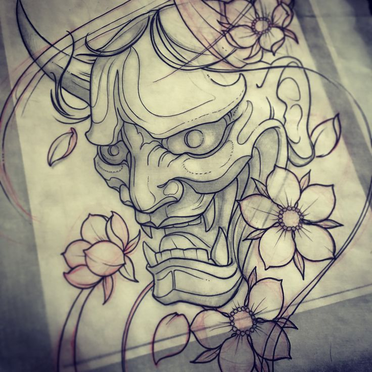 Hanya mask drawing mike tattoo custom tattoos toronto for Japanese tattoo art