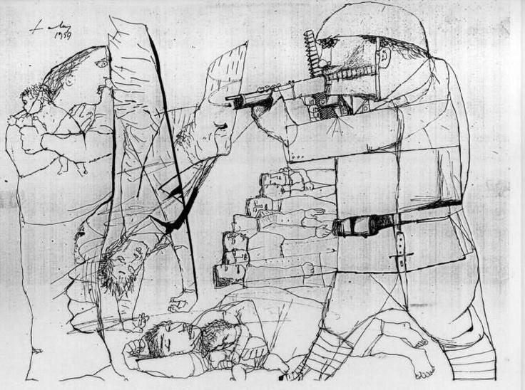 Lajos Szalay, no mercy, ink, 1959