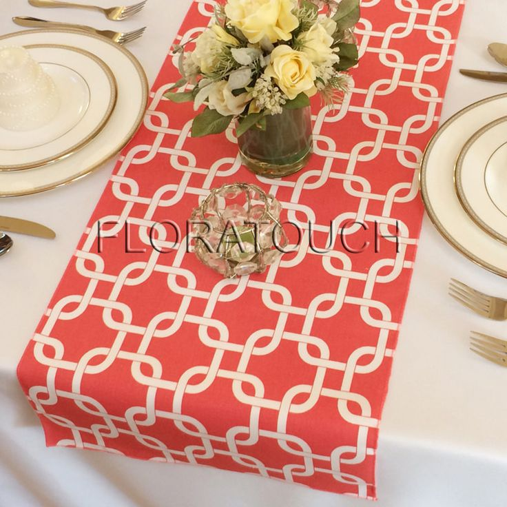 Coral and White Chain Link Table Runner