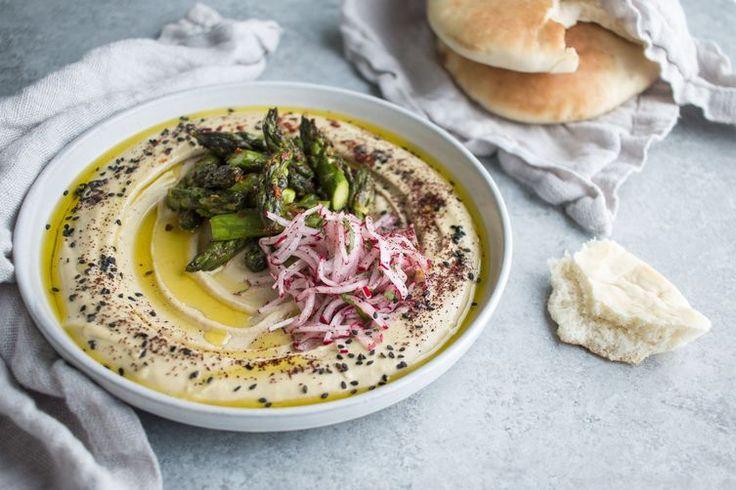 Hummus with Aleppo Asparagus & Sumac Radish Salad recipe on Food52
