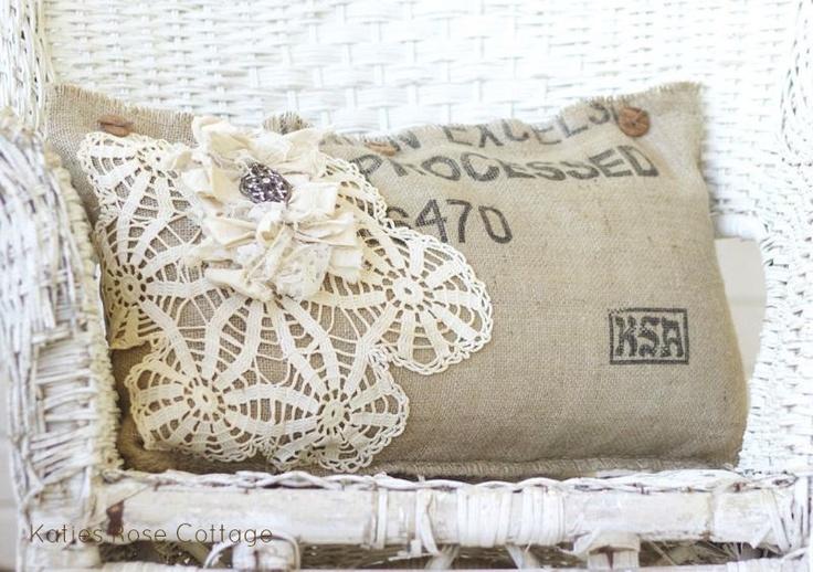 Burlap Coffee Sack Pillow Medium