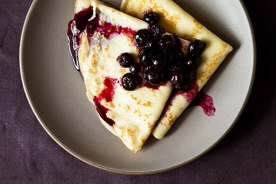 // crepes w/ lemon curd & blueberry compote