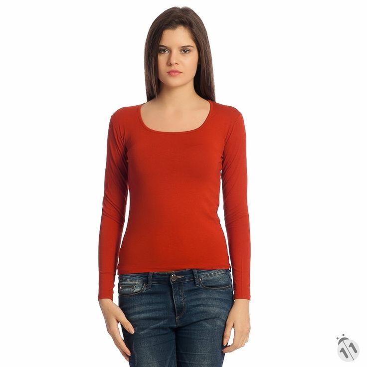 kiremit rengi basic uzun kollu kadın tişört