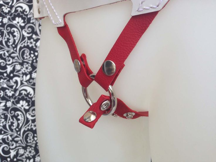 Leather strap-on harness - Saint - White, Red, Silver. Comes with various O'rings. Classic, Curvy or Custom size.  Snap locks for quick change over of O'rings and dildo