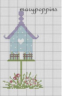 Bird house - cross stitch freebie