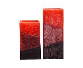 Set di 2 candele elettriche quadre in cera Bombay rosso - max 8x20x8 cm