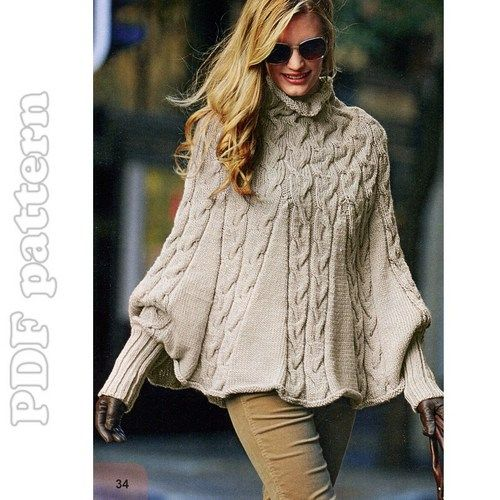 Puffy Sleeves Cable Turtleneck Poncho English Knitting Pattern PDF