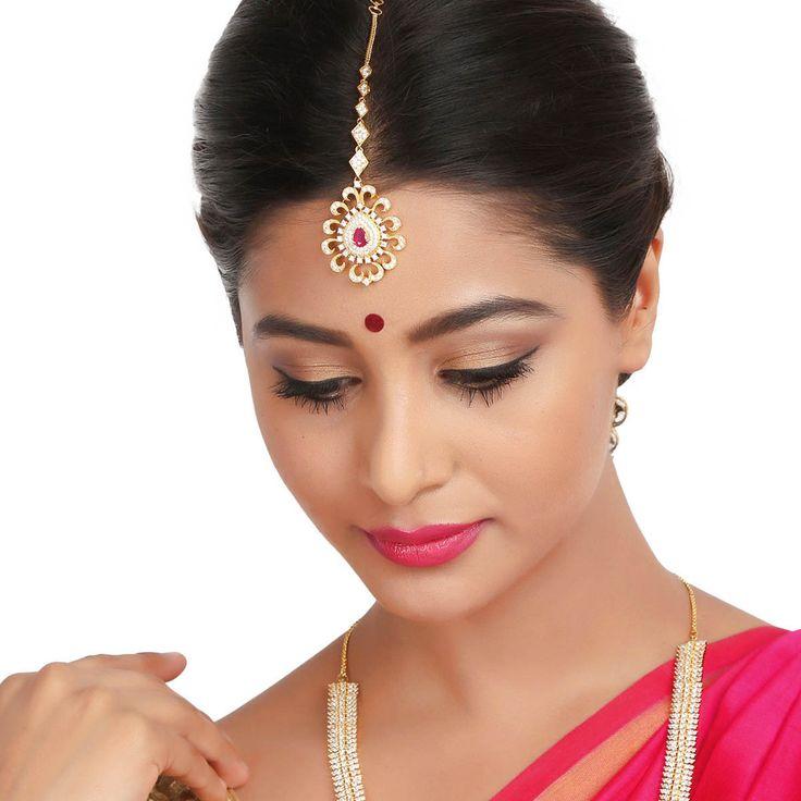 Zircon Tikka 56980R #Kushals #Jewellery #FashionJewellery #IndianJewellery  #WeddingAccessories #Maang Tikka #Zircon