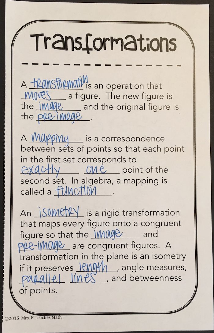 Transformations for a Geometry Interactive Notebook