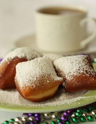 Beignets!  In honor of Mardi Gras, I had to post this tasty dessert.  Loved eating these while sipping coffee at Cafe Du Monde while visiting the French Quarter.