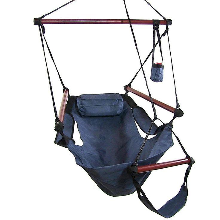 Sunnydaze Hanging Hammock Chair W/ Pillow & Drink Holder (Green), Patio Furniture (Polyester)