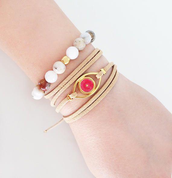 leather bracelet pink evil eye jewelry agate bracelet