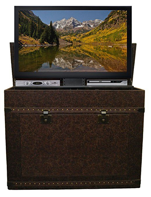 Touchstone 72007 Elevate Vintage TV Lift Cabinet For TVs Up To 42 inches, Steamer Trunk, Whisper Lift (Cigar Leather)