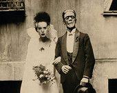 Decoración fiesta de Halloween, la novia de Frankenstein y novio mixta Collage Print, Halloween arte de la pared