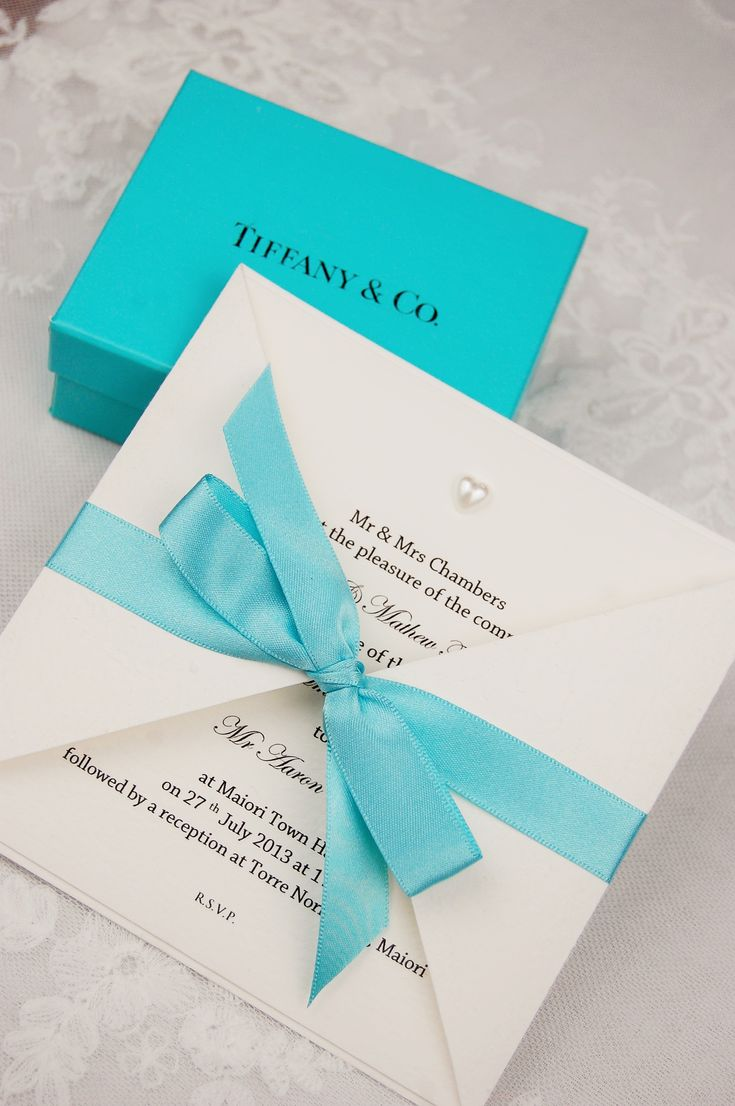 HipTwist Stationery Barcarolle Collection - Luxury Wedding Invitations Stationery with hand tied bow. Pearl Heart Tiffany Blue (available in any colour)