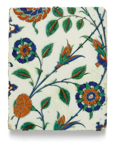 iznik pottery tile with carnations ||| tiles ||| sotheby's l17120lot9g7mlen