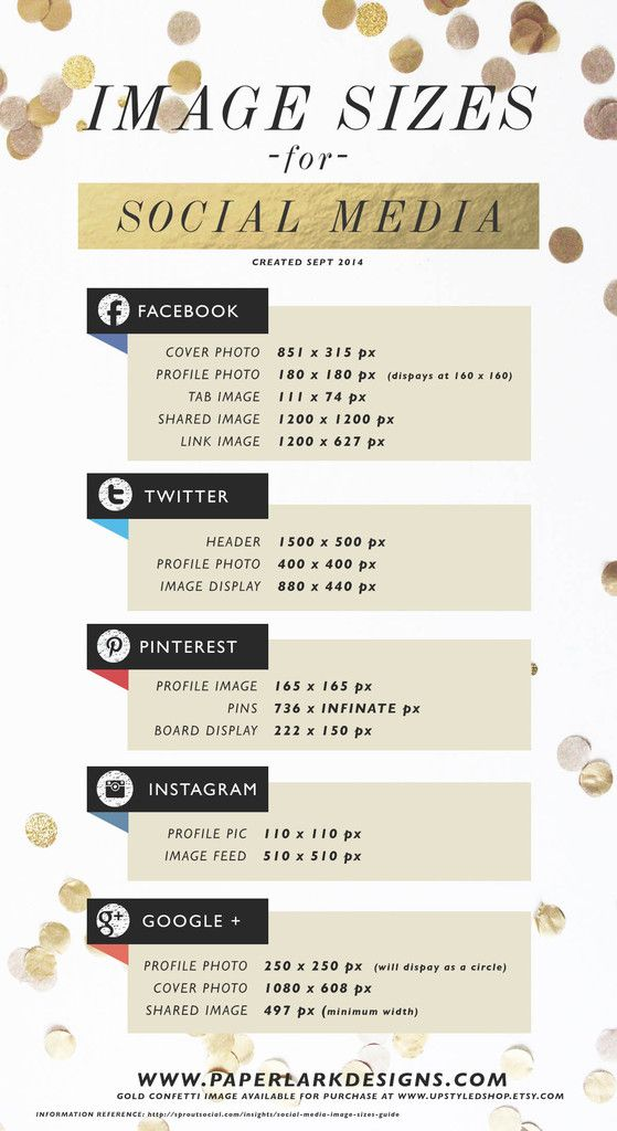 DIY: Super helpful guide for image sizes for social media