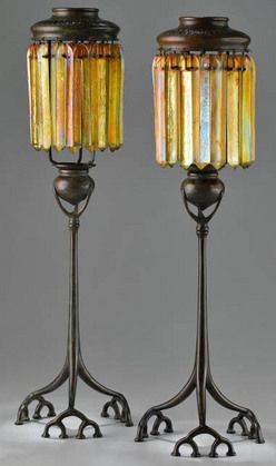 Candle Lamps (2); Tiffany Studios, Bronze, Iridescent Prisms, Root Base, 20 inch. Year: 	1905 - 1915