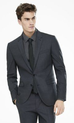 dark gray end-on-end innovator suit  jacket from EXPRESS Color: charcoal